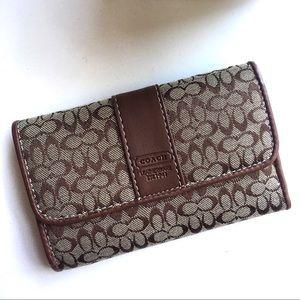 COACH Brown Monogram Snap Wallet
